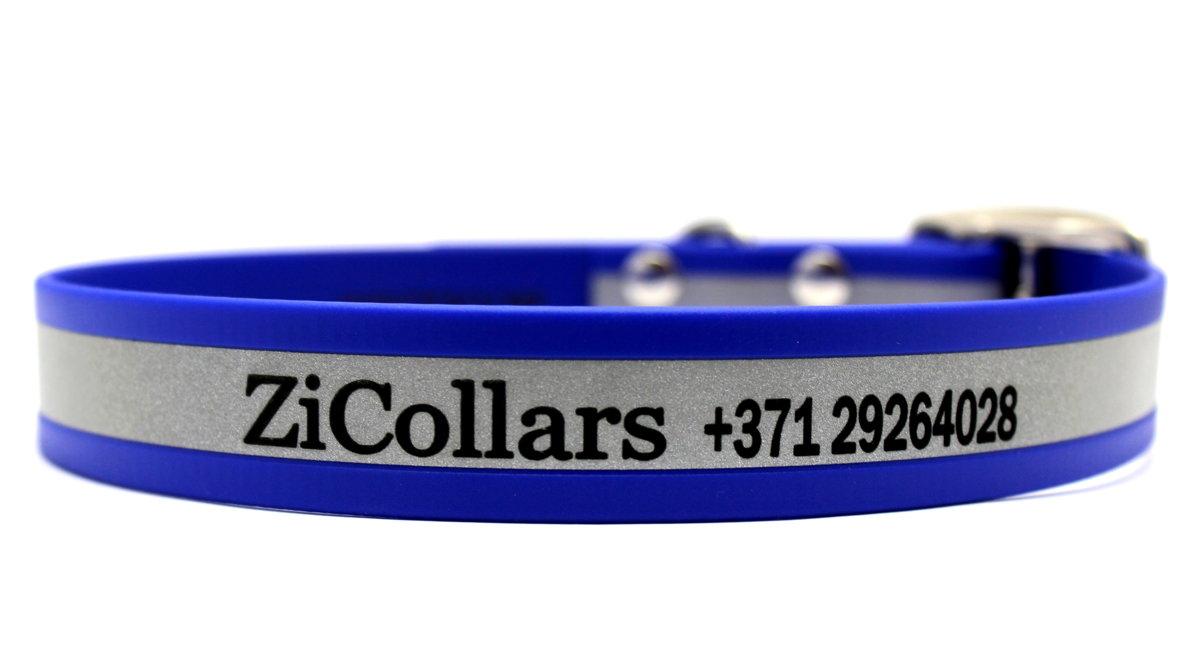 Augstas kvalitātes, izturīga, labi pamanāma atstarojoša zila personalizēta kaklasiksna